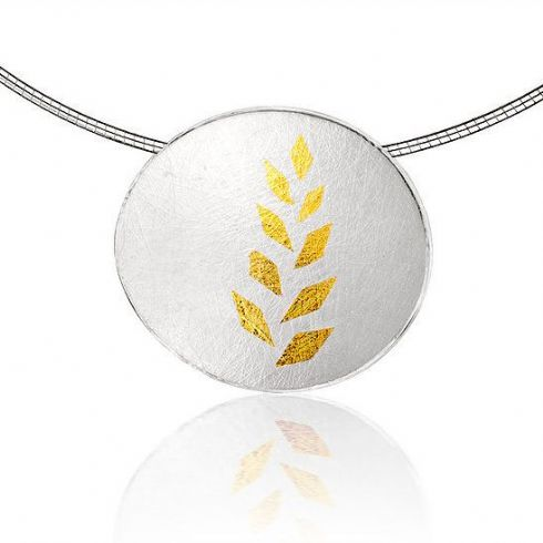 Jill Graham Jewellery - Sterling Silver & Gold Leaf Large Pendant